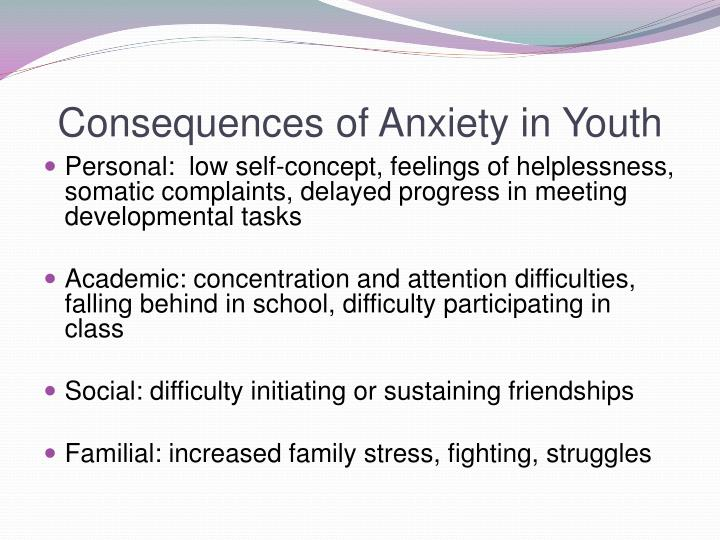 Consequences of anxiety in youth