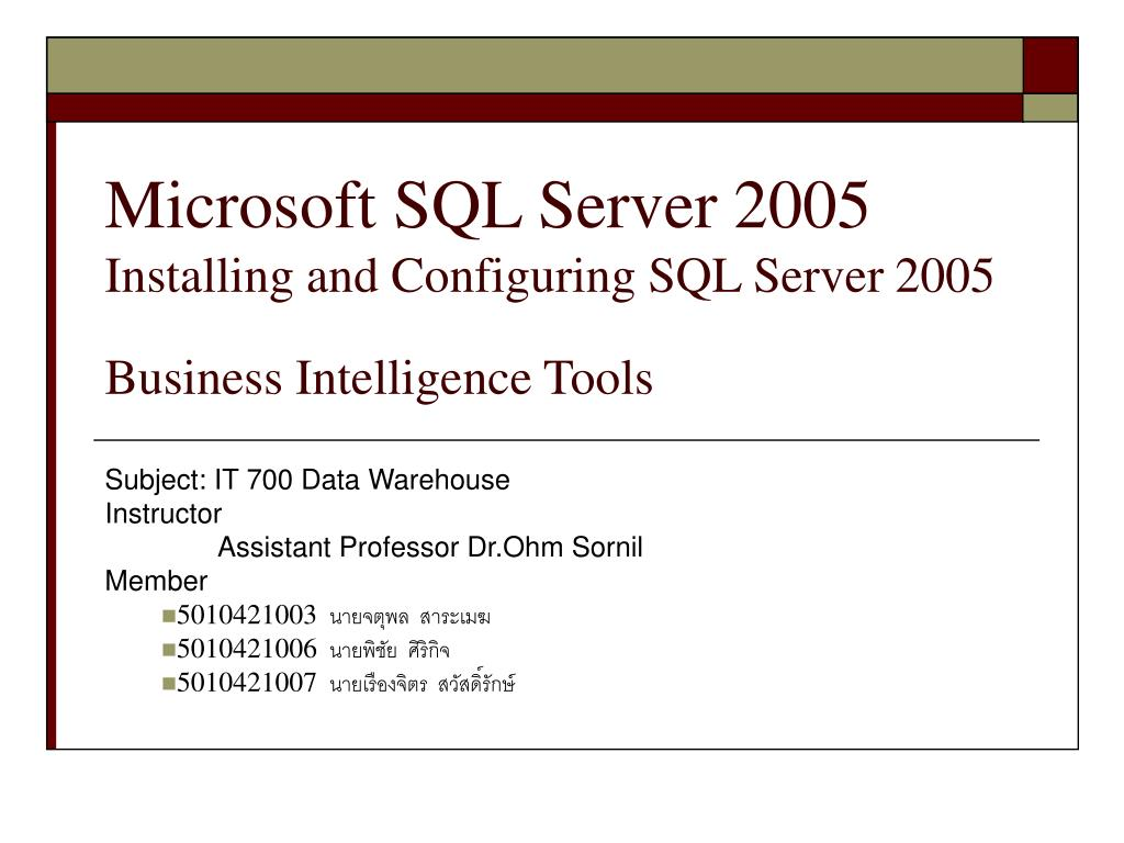 microsoft sql server 2005 installing and configuring sql server 2005 business intelligence tools l.