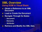 xml overview using dom in visual basic