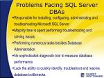problems facing sql server dbas