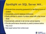 spotlight on sql s erver will