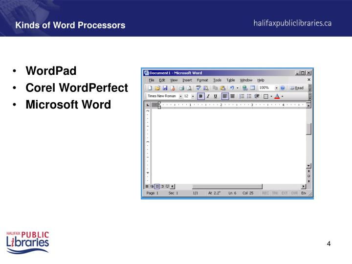 Kinds of Word Processors