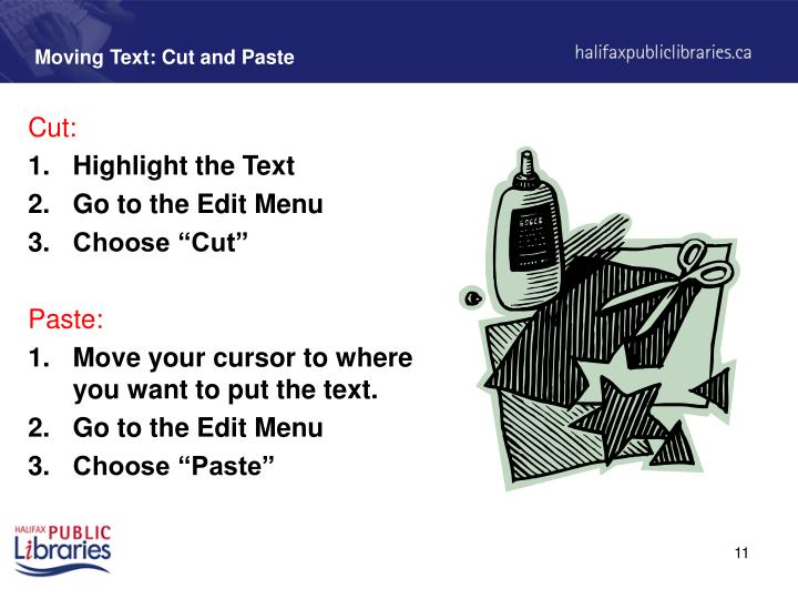 Moving Text: Cut and Paste