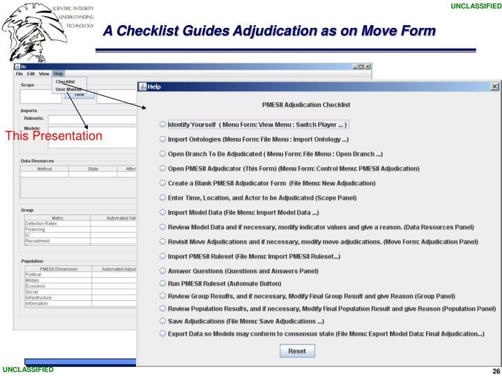 A Checklist Guides Adjudication as on Move Form