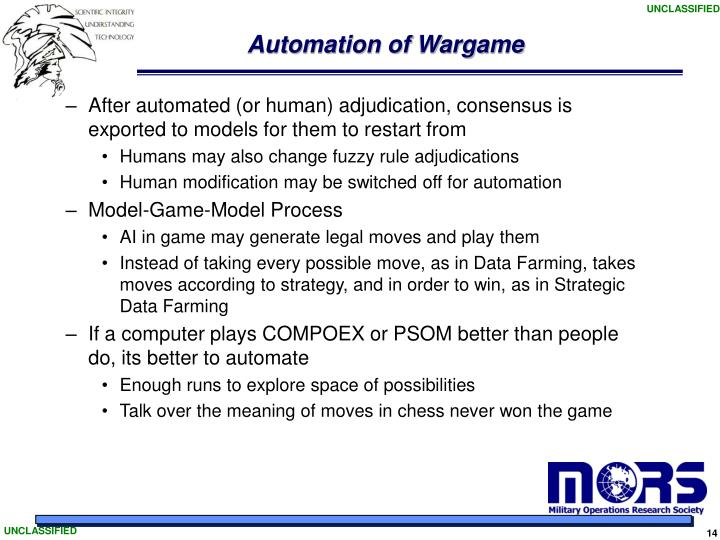 Automation of Wargame