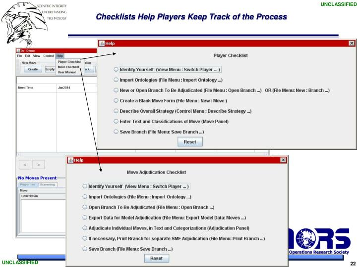 Checklists Help Players Keep Track of the Process