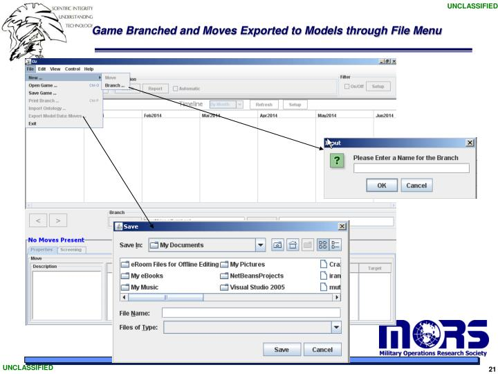 Game Branched and Moves Exported to Models through File Menu
