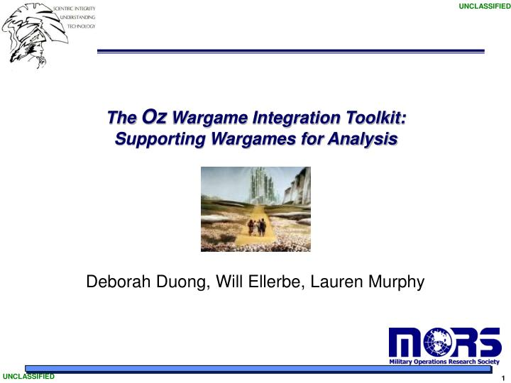 The oz wargame integration toolkit supporting wargames for analysis