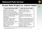 access data project vs linked tables
