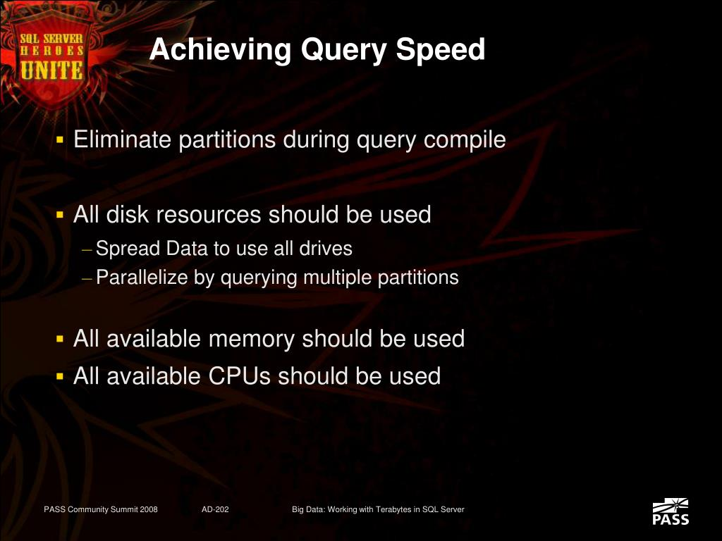 Achieving Query Speed