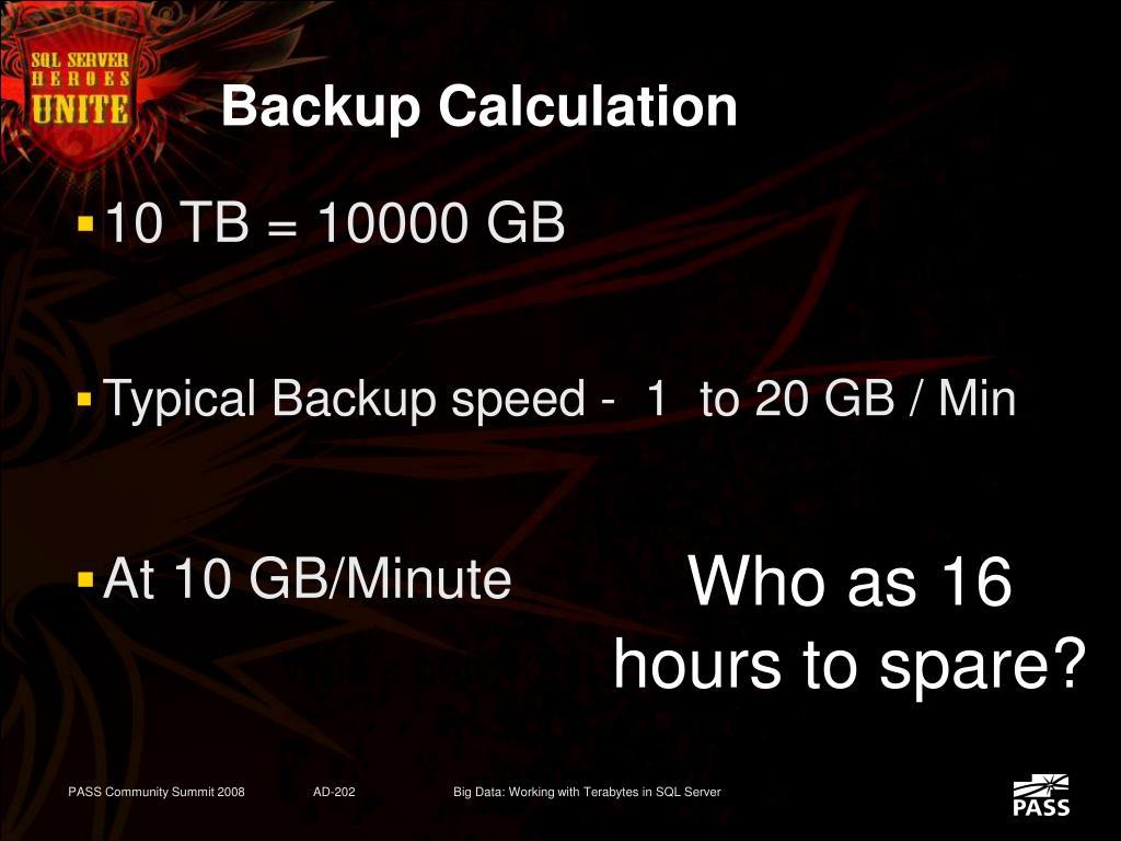 Backup Calculation