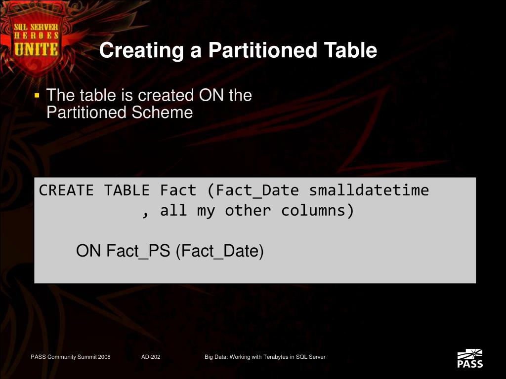 Creating a Partitioned Table