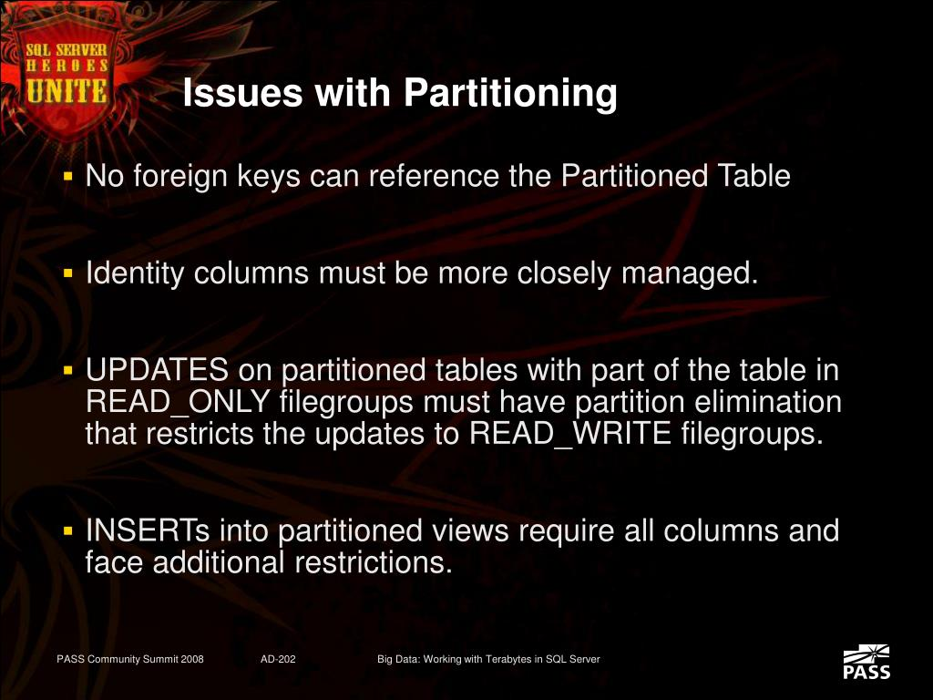 Issues with Partitioning