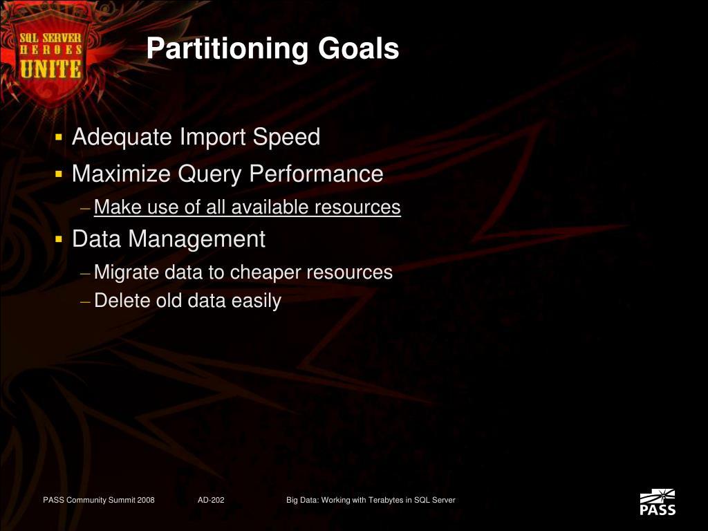 Partitioning Goals