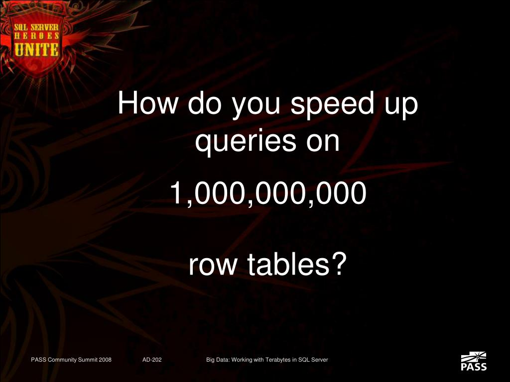 How do you speed up queries on