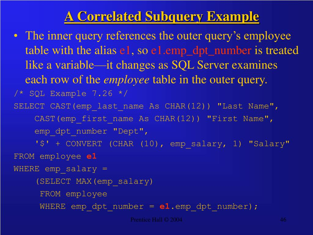 A Correlated Subquery Example