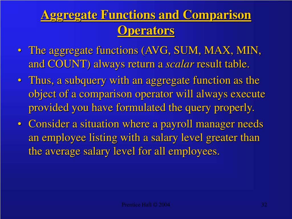 Aggregate Functions and Comparison Operators