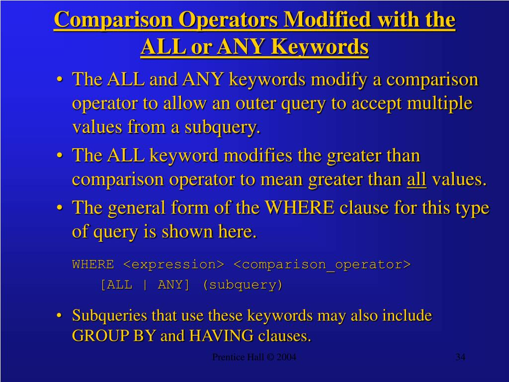 Comparison Operators Modified with the ALL or ANY Keywords