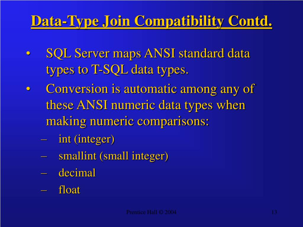 Data-Type Join Compatibility Contd.