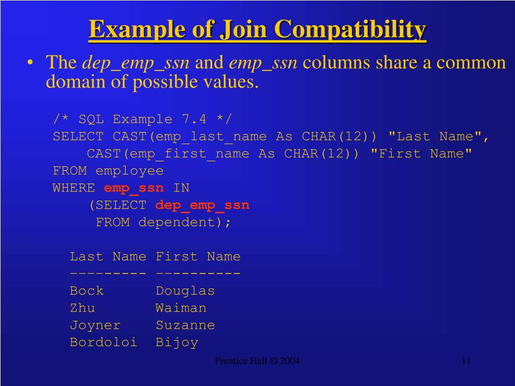 Example of Join Compatibility