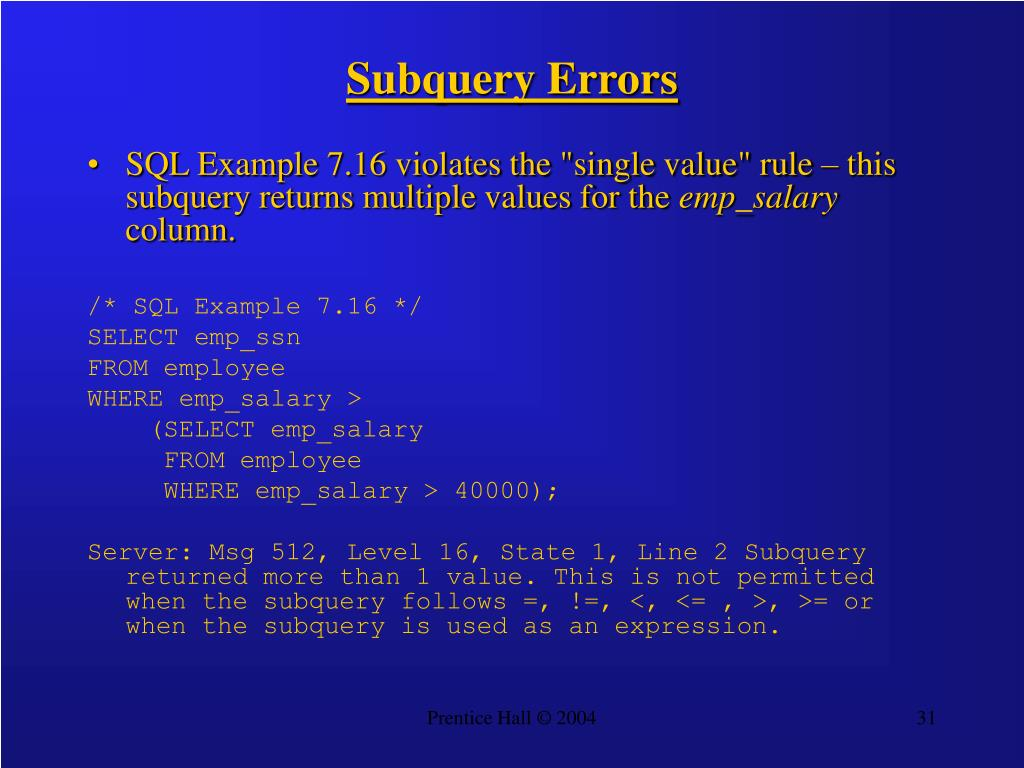 Subquery Errors