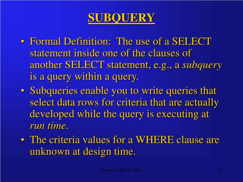 SUBQUERY