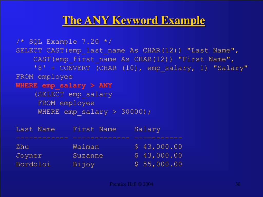 The ANY Keyword Example