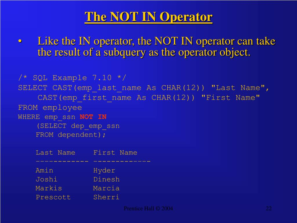 The NOT IN Operator