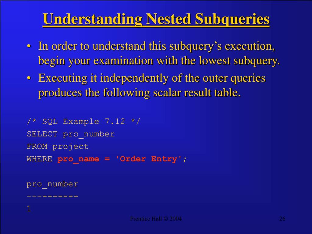 Understanding Nested Subqueries