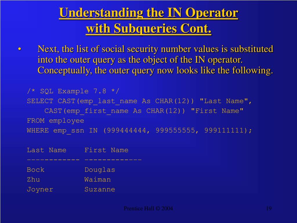 Understanding the IN Operator