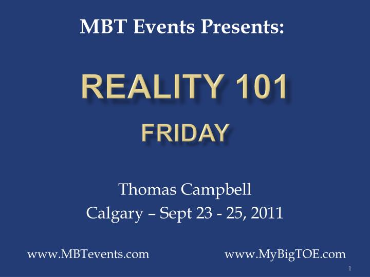 reality 101 friday n.
