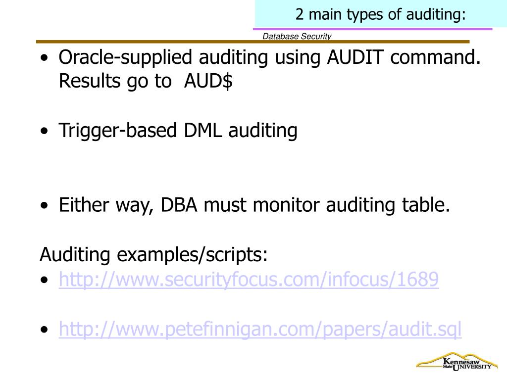2 main types of auditing: