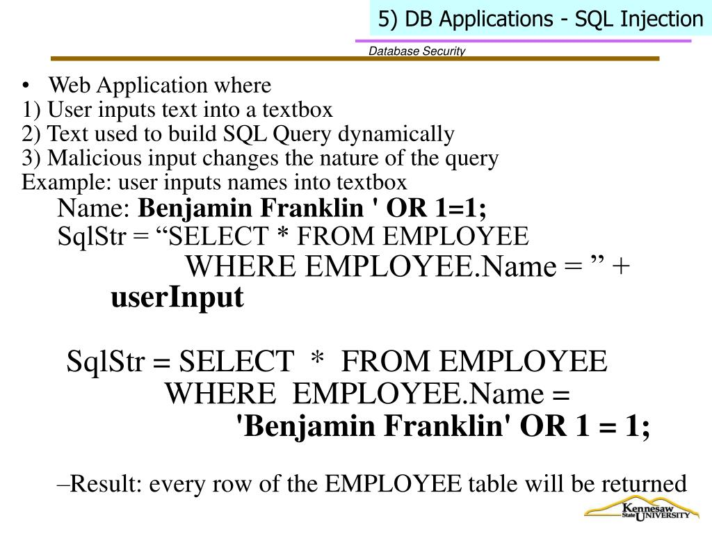 5) DB Applications - SQL Injection