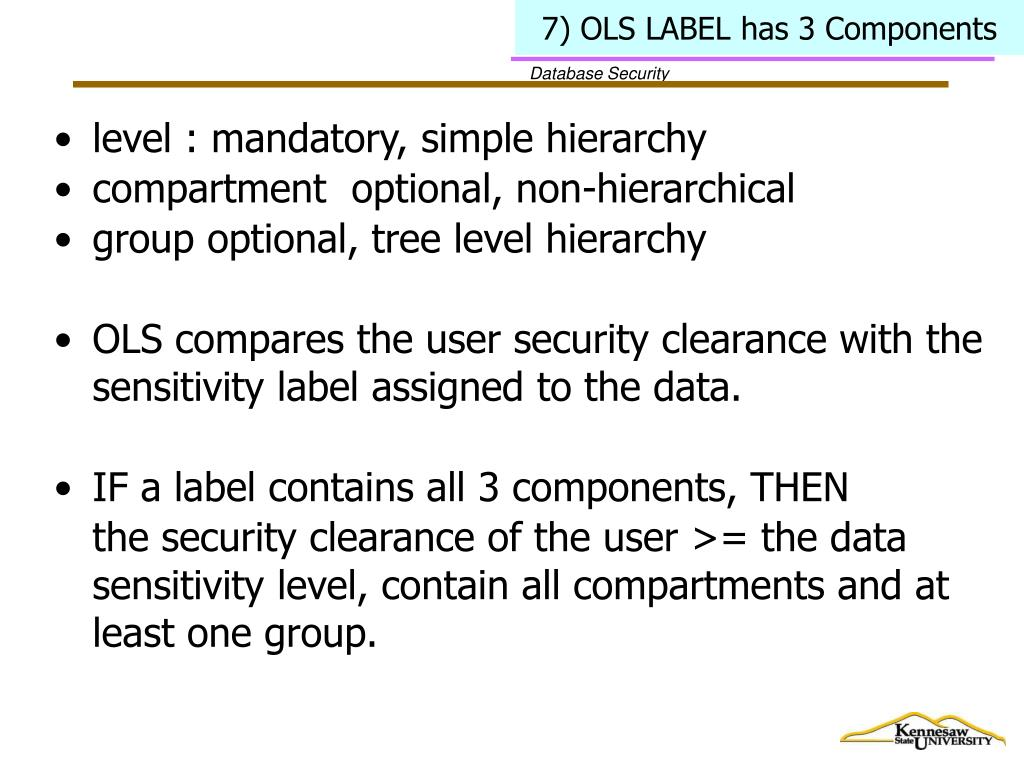 7) OLS LABEL has 3 Components