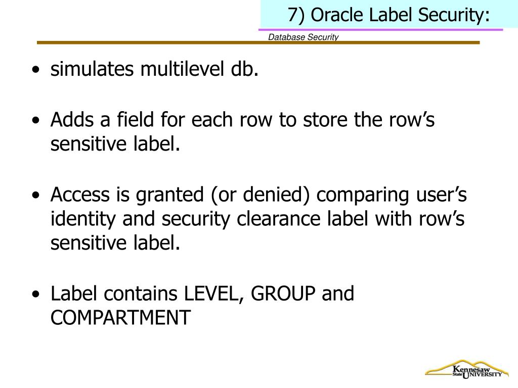 7) Oracle Label Security: