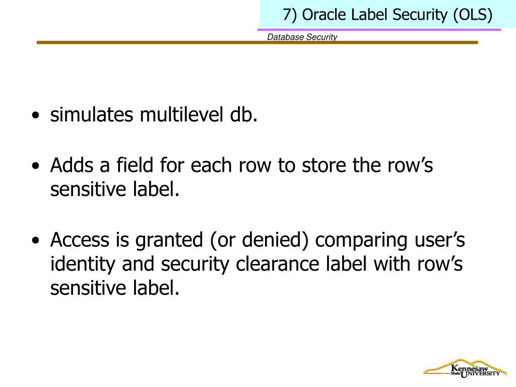 7) Oracle Label Security (OLS)