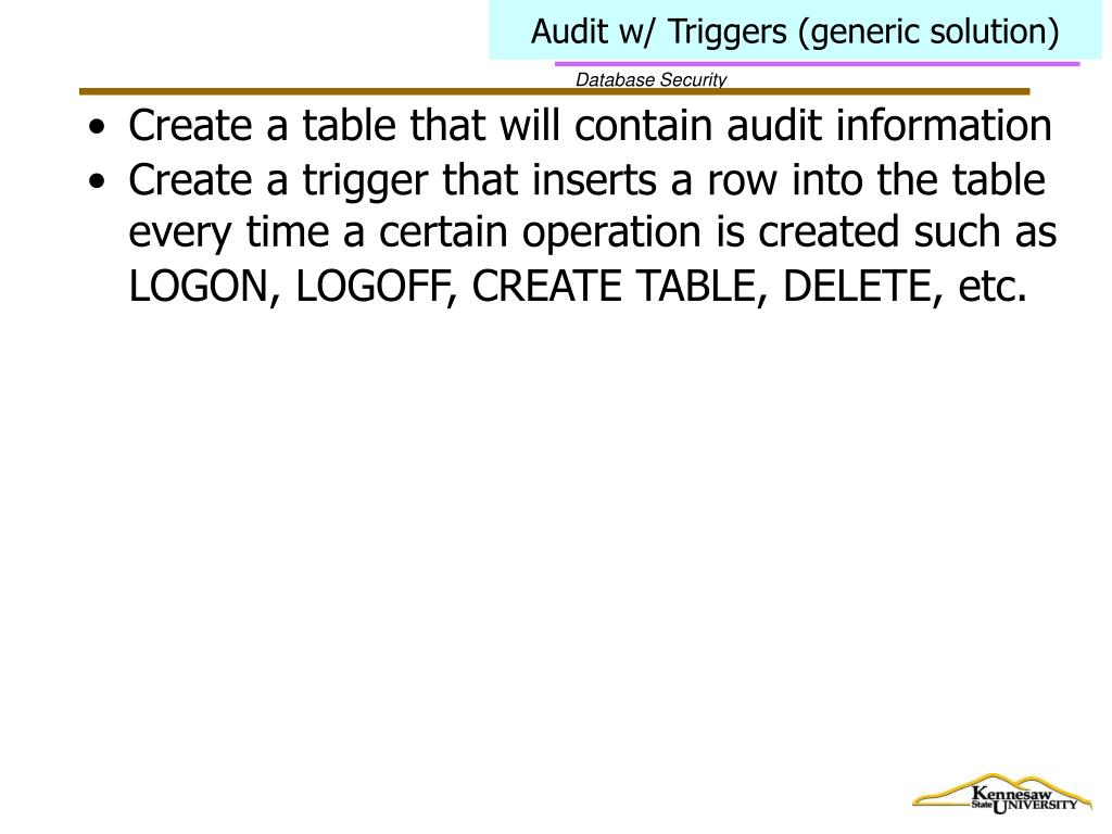 Audit w/ Triggers (generic solution)
