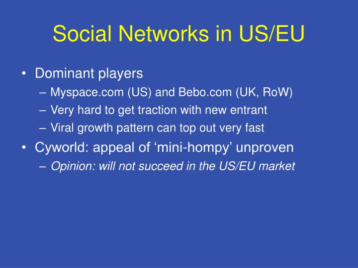 Social Networks in US/EU