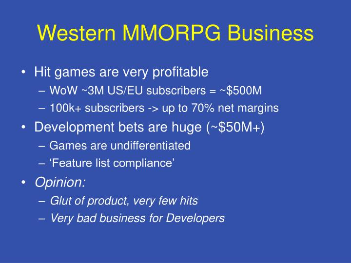 Western MMORPG Business