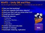 winfs unify db and files so you ve got everything online now what do you do with it