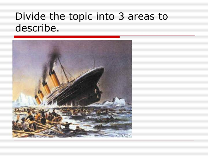 Divide the topic into 3 areas to describe.
