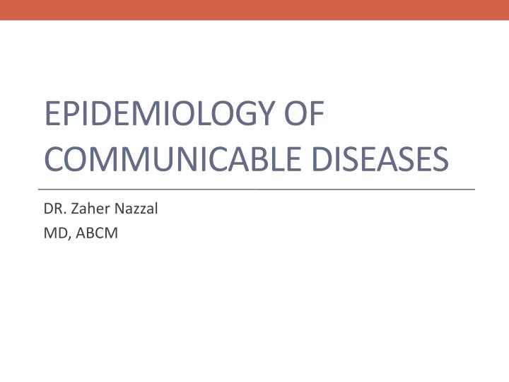 epidemiology of communicable diseases n.
