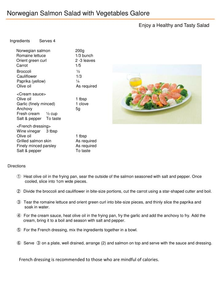 Norwegian Salmon Salad with Vegetables Galore
