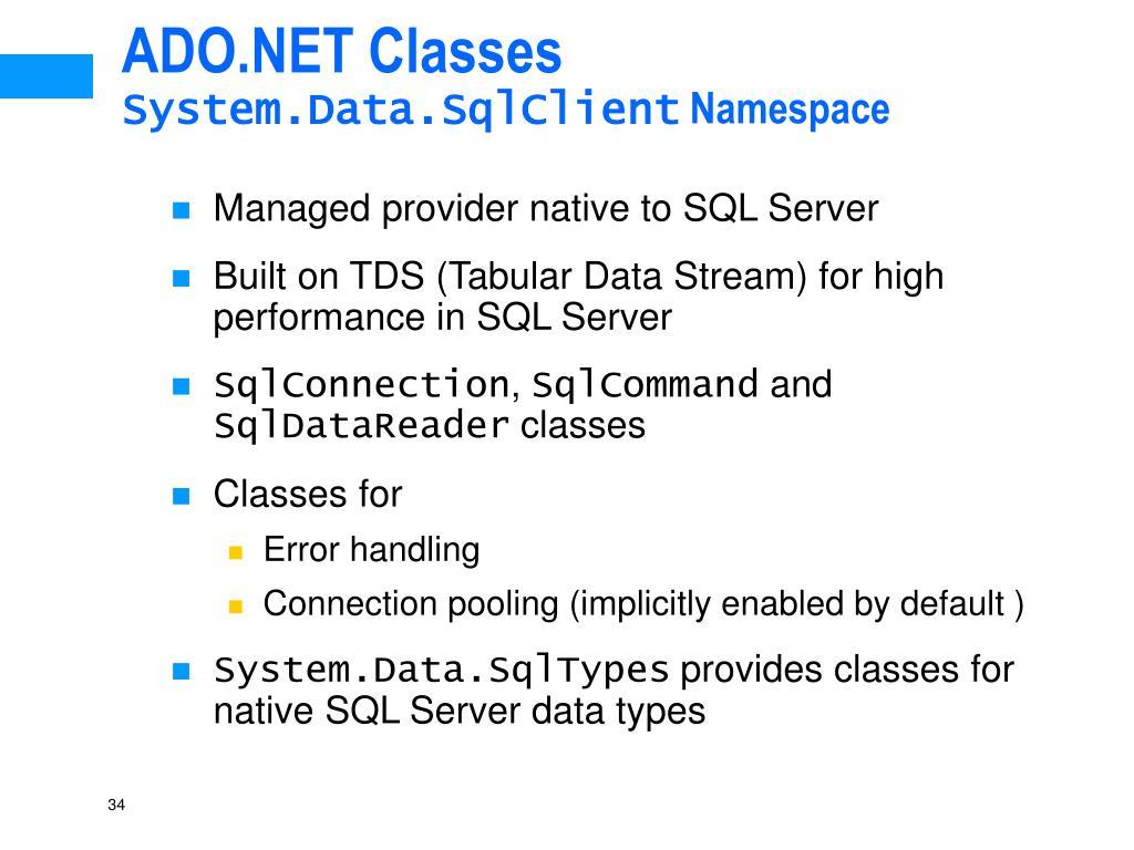 ADO.NET Classes
