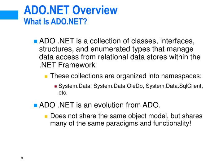 Ado net overview what is ado net