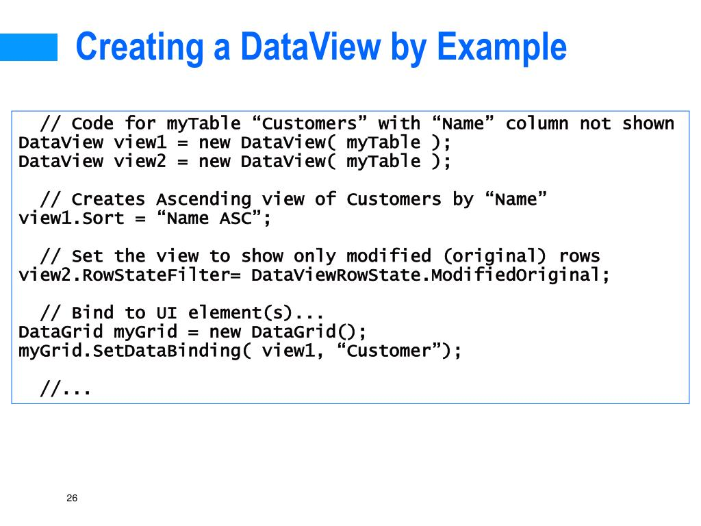 Creating a DataView by Example