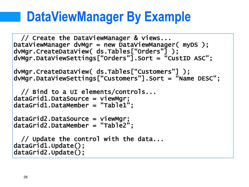 DataViewManager By Example