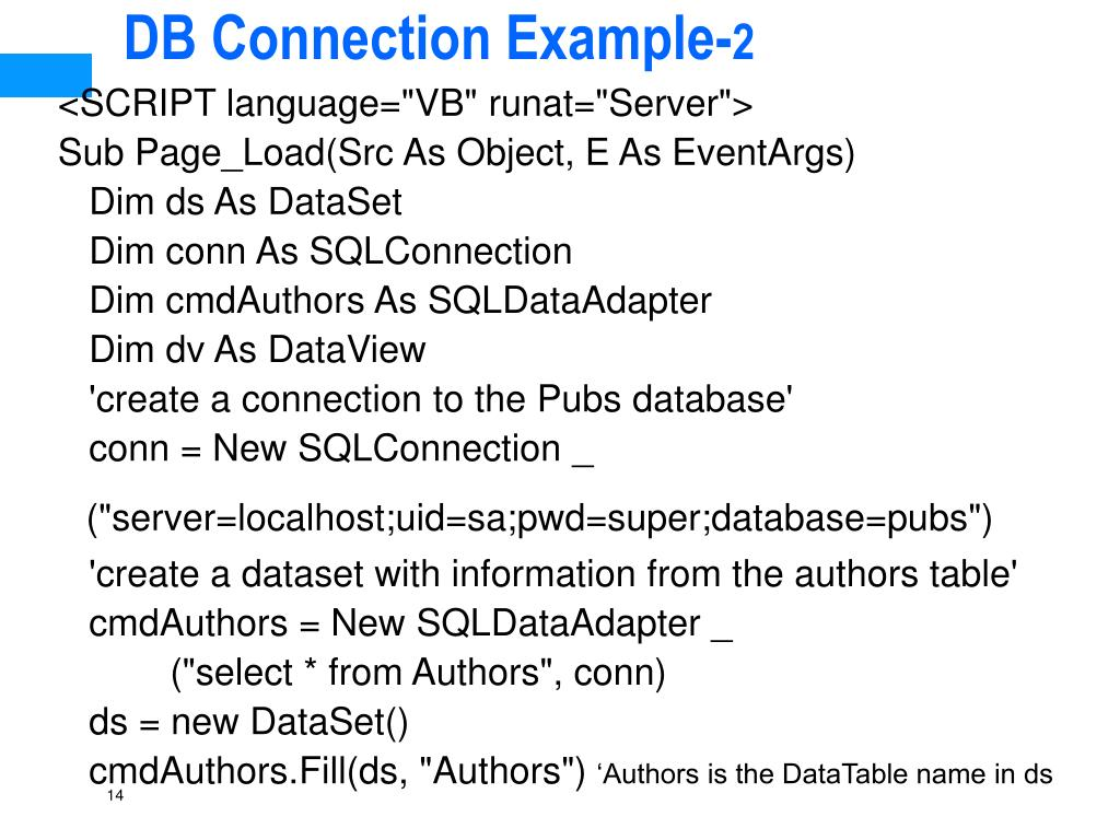 DB Connection Example-
