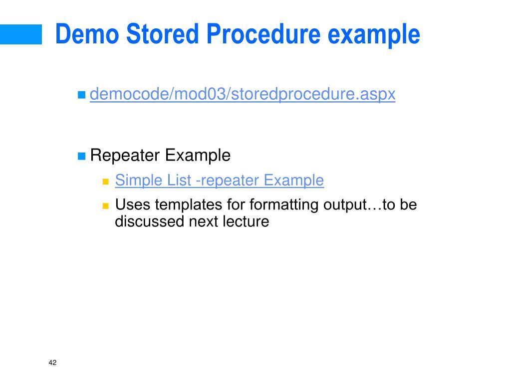 Demo Stored Procedure example
