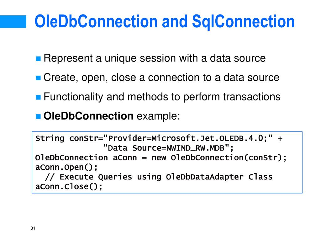OleDbConnection and SqlConnection